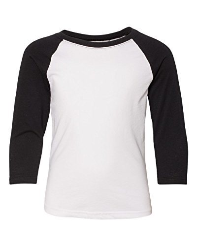 NL YTH 3/4 SLEEVE RAGLAN TEE, BLACK/ WHITE, M (Youth Tee Baseball)