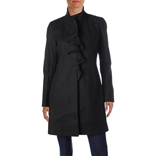 T Tahari Womens Kate Wool Ruffled Trench Coat Black S -
