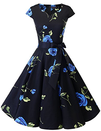 Vintage Fashion Womens Dresses Gowns - DRESSTELLS Retro 1950s Cocktail Dresses Vintage Swing Dress with Cap-Sleeves Blue Flower XS