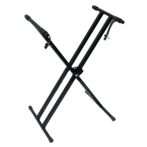 Kuyal Keyboard Stand Adjustable Metal Double-X Electronic Piano Stand Music Keyboard Rack With Locking Straps