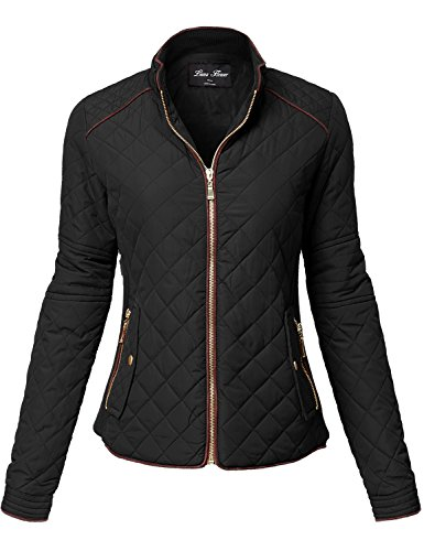 Luna Flower Winter Quilted Padding Vest Long Sleeve Warm Jackets 123-Black Large