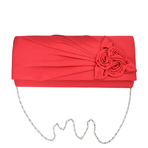 Premium Rose Floral Pleated Satin Flap Clutch Evening Bag, Red