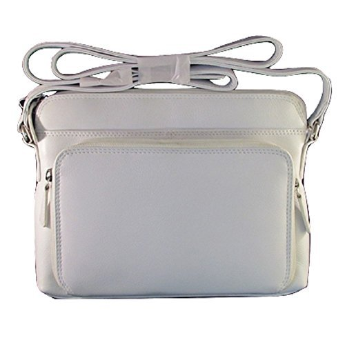 ili New York 6333 Leather Shoulder Handbag with Side Organizer (White)
