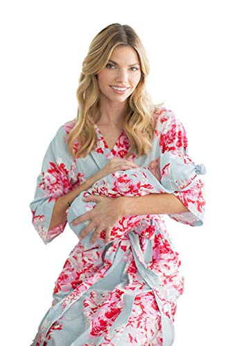 Matching Delivery Robe and Swaddle Blanket Set Mom and Baby (L/XL 12-18, Mae)
