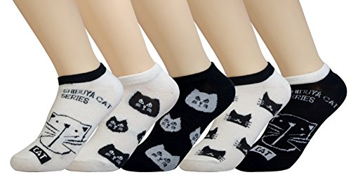 5-Pairs-Womens-No-Show-Socks-Cute-Cats-Rabbit-Cotton-Under-Ankle-By-Jeasona