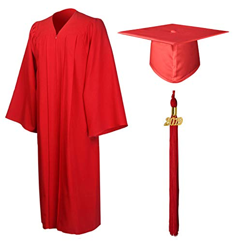GraduationMall Matte Graduation Gown Cap Tassel Set 2019 for High School and Bachelor Red - Mens Tassel