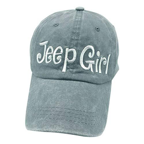 (Waldeal Embroidered Jp Girl Vintage Distressed Adjustable Baseball Caps Washed Denim Dad Hat Mom Gift Grey)
