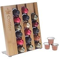 Source One Deluxe Espresso Pod Organizer Sleek Modern Bamboo Design Holder 21 Pods (Bamboo)