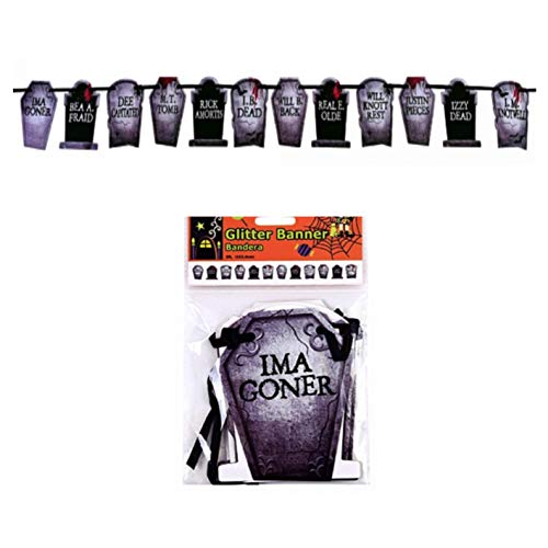 Halloween Tombstone Sayings (Halloween Banner - Ghost Devils or Creepy Tombstones with Glitter Detail 5 Foot Hanging Banners (Creepy)
