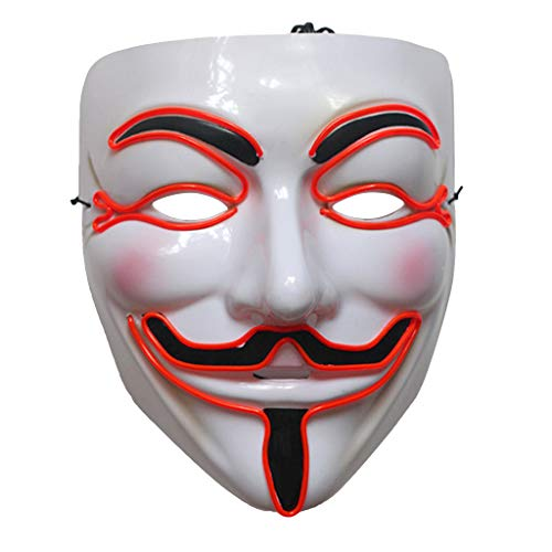 Cicitop V Vendetta Mask Adult Halloween Costume Masks LED Mask Light up Masquerade Party Prop (Red)