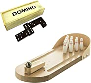Table Top Wooden Mini Bowling Game Set and Double 6 Domino Tiles Game Set for Kids and Adults