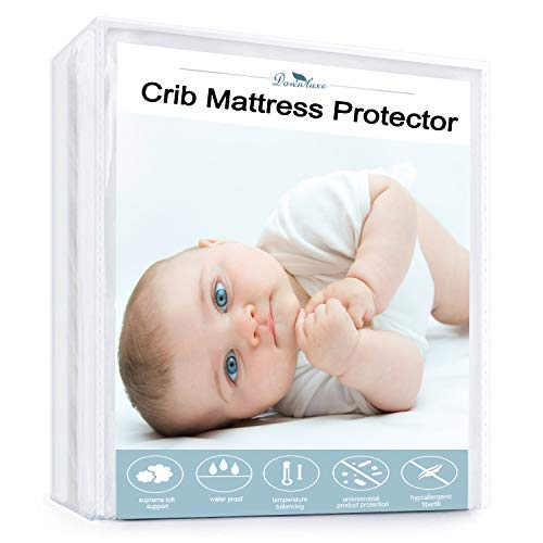 downluxe Waterproof Crib Mattress Protector - Breathable, Deep Fitted Stretch Skirt 52