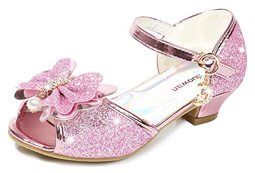(Osinnme Flower High Heel Shoes for Girls Wedding Princess Size 10 M Little Girl Pink Toddler Kids Glitter Dress Rhinestone Sandals Knot (Pink 27))