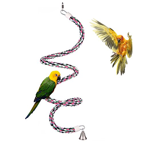 Medium Toys Bird Exercise (Aigou Bird Spiral Rope Perch, Cotton Parrot Swing Climbing Standing Toys with Bell (Medium - 65 inch))