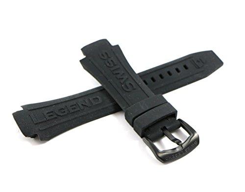 Swiss Legend 28MM Black Silicone Rubber Watch Strap & Black Stainless Buckle fits 46mm Super Shield - Swiss Men Watches Legend