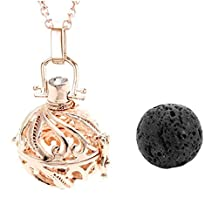 Top Plaza Natural Lava Stone Aromatherapy Locket Pendant Essential Oil Fragrance Diffuser Necklace