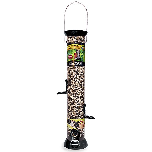 Droll Yankees Onyx Clever Clean Mixed Seed Bird Feeder, 18 Inches, 4 Ports, Black