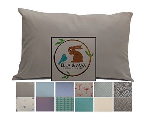 19 Fabric (TODDLER PILLOWCASE by Ella & Max.  Gray.  Soft and cuddly.  Fits 13 x 18 and 14 x 19.  Made of luxury microfiber fabric.  No ironing.  Best toddler or travel pillowcase.)