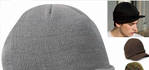 Unisex Beanie enarbolado c Visor Hat Cool Ski Cap Fashion Acvip Knit 6Idd1
