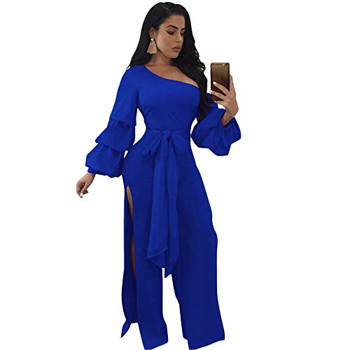 Womens Elegant One Off Shoulder Long Sleeve Palazzo Pants Jumpsuits Rompers Bodysuit with Belt High Slit Blue