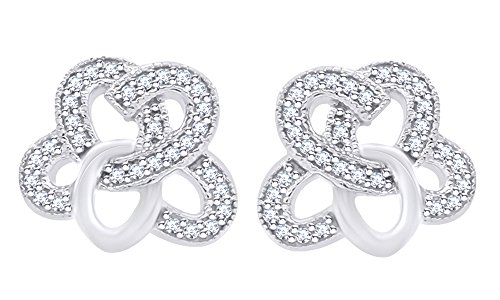 Wishrocks Round Cut White Cubic Zirconia Celtic Knot Stud Earrings in 14K White Gold Over Sterling Silver