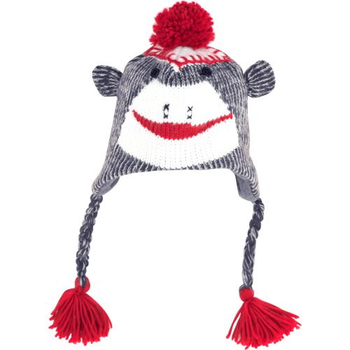 Sock Monkey Knit Hat with Poly-Fleece Lining, Adult Size, -