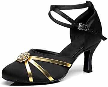 Minishion QJ5008 Womens 3 Inch Heel Pleather Latin Salsa Tango Dance Shoes
