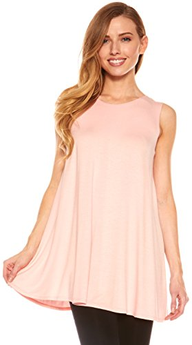 (Red Hanger Womens Sleeveless Tunics - Women Flowy Tunic Tank Tops Leggings (Rose-M))