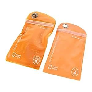 10 piezas de nadar del bolso impermeable de la bolsa naranja para el teléfono móvil Cámara Compacta