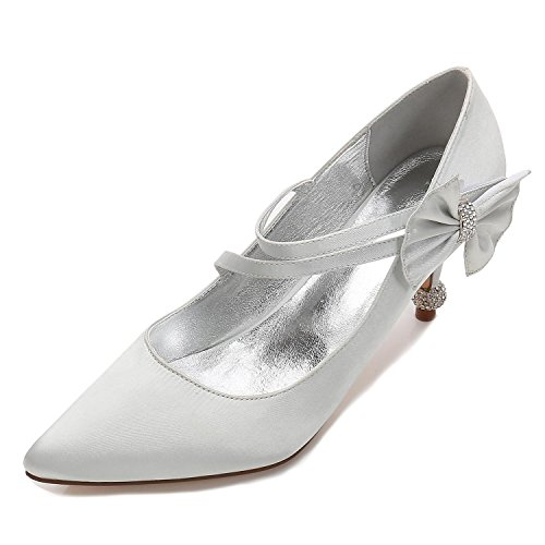 L@YC Women's Wedding Shoes Closed Toe Buckle Platform High Heels Satin/Court Shoes/17767-6 Silver a5J88yeffm