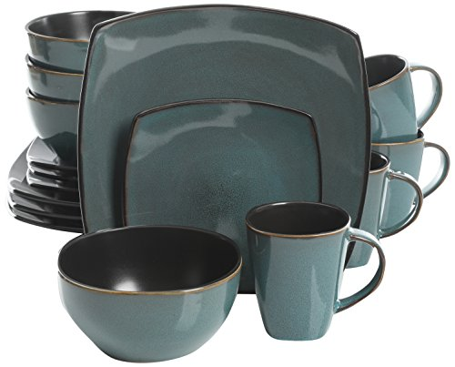 Gibson Elite Soho Lounge 16 Piece Reactive Glaze Dinnerware Set, Soft Square, Teal Green