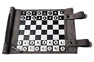 Pitkin Stearns International, Inc. Genuine Leather Roll-Up Travel Game - Chess/Checkers