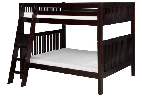 Camaflexi Mission Style Solid Wood Bunk Bed, Full-Over-Full, Side Angled Ladder, Cappuccino