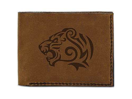 Men's Tribal Tiger Abstract -10 Handmade Genuine Leather Trifold Wallet (Tigers Tri Fold Leather)