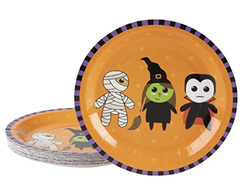 Disposable Plates - 80-Count Paper Plates, Halloween Party Supplies for Appetizer, Lunch, Dinner, and Dessert, Mummy, Witch and Vampire Design, 9 Inches Diameter]()