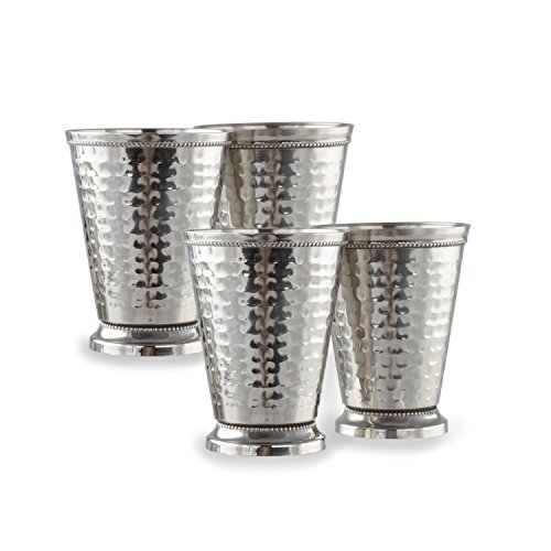 Cocktail Mint Julep Cup – 12 Oz Stainless Steel Mint Julep Glasses (Hammered) (4) by Imperial Home (Image #5)