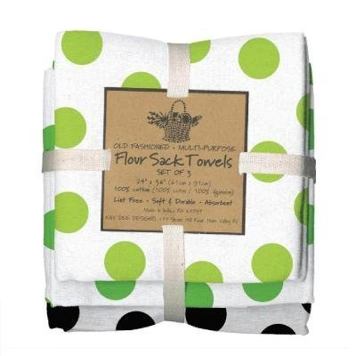 Williams Sonoma White Bed (Green Black Dots Flour Sack Towels, Set of 3 - Kay Dee)