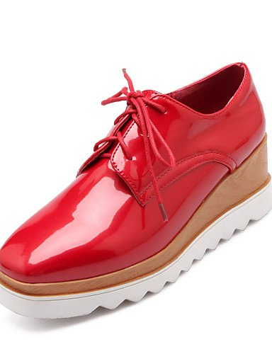 Plataforma Uk6 Zq Zapatos Eu39 Rojo 5 White 5 5 Uk8 Oxfords Creepers Cn43 Punta Redonda Eu42 Blanco Mujer Negro Casual Cuero De 5 us8 us10 Cn40 Patentado Red Swtxn7w4