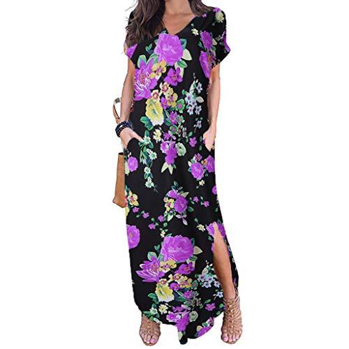 Aotifu Women's Short Sleeve Loose Plain Maxi Dresses Sale Boho Casual Sleeve V-Neck Print Long Dresses with Pockets(Purple,L) (Best Mid Shelf Whiskey)