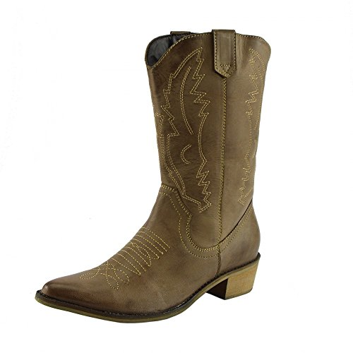 Spitz Leder Kalb Damen Zehen Cowboy Stiefel Western Breite Damen Stiefel RTw5Iq