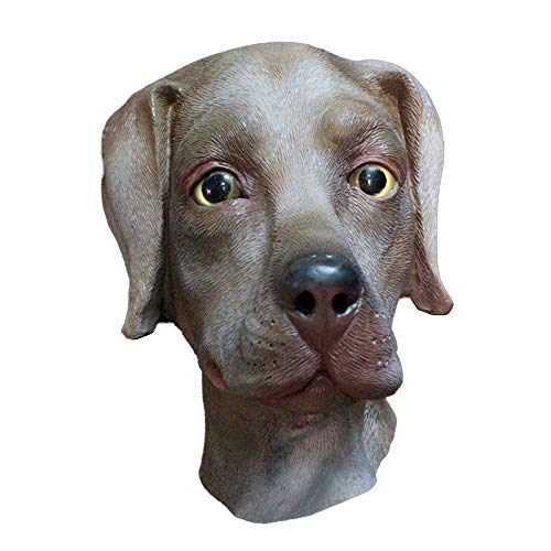 Dog Mask Adult Labrador Realistic Animal Head Latex Mask Dog Pet Halloween Costume Party Brown Canine Mask]()