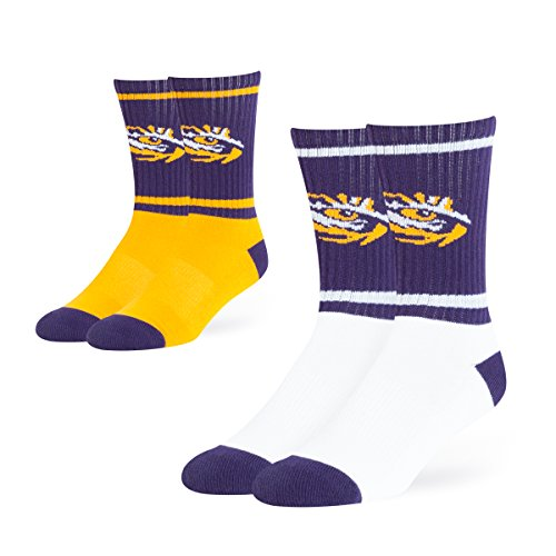 - OTS NCAA Lsu Tigers Dasher Sport Socks (2 Pack), Large, Team Color
