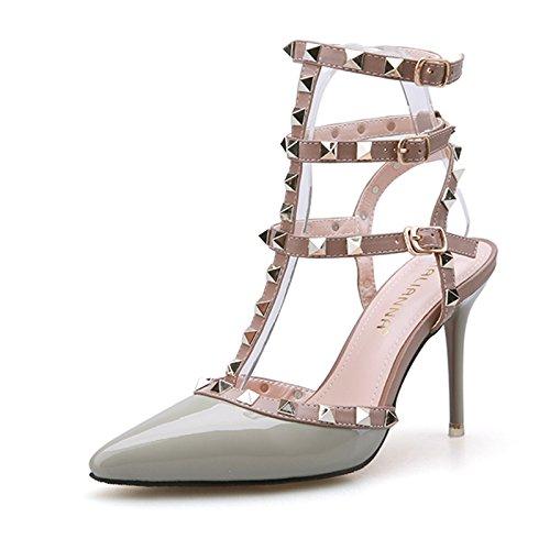 Las mujeres boca de pescado zapatos Sandalia Verano niñas ,38 rojo Grey
