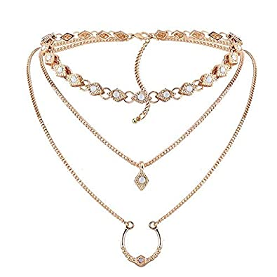 2be48ed5a Simple Zircon Gold Collar Chain Multilayer Pendant Necklace for Women