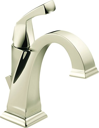 Pn Single Handle - Delta Faucet Dryden Single-Handle Bathroom Faucet with Diamond Seal Technology and Metal Drain Assembly, Polished Nickel 551-PN-DST