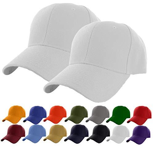 White Baseball Cap Set - Set of 2 White Plain Adjustable Baseball Cap Classic Adjustable Hat Men Women Unisex Ballcap 6 Panels (White -2Pack)
