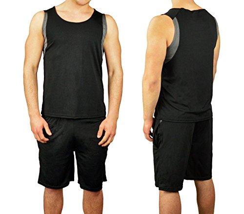 Completo sportivo da uomo ALTHANIUS pantaloncini e canotta dalla S alla XL. MEDIA WAVE store ® (S/M, Nero e Grigio)
