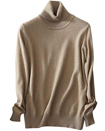 (EMAOR Women's Cashmere Turtleneck Knit Sweater Pullover (US XXL, Camel))