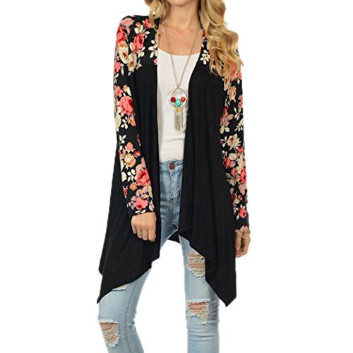 YANG-YI Fashion Women Boho Floral Long Sleeve Casual Loose Coat Tops Blouse Sweater (XL, Black) (Lace Panel Stand Collar)