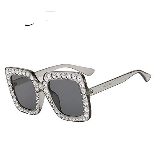 Sun Glasses For Women Crystal Rim Women Sunglasses Retro Brand Desginer Square Oversize Sun ()